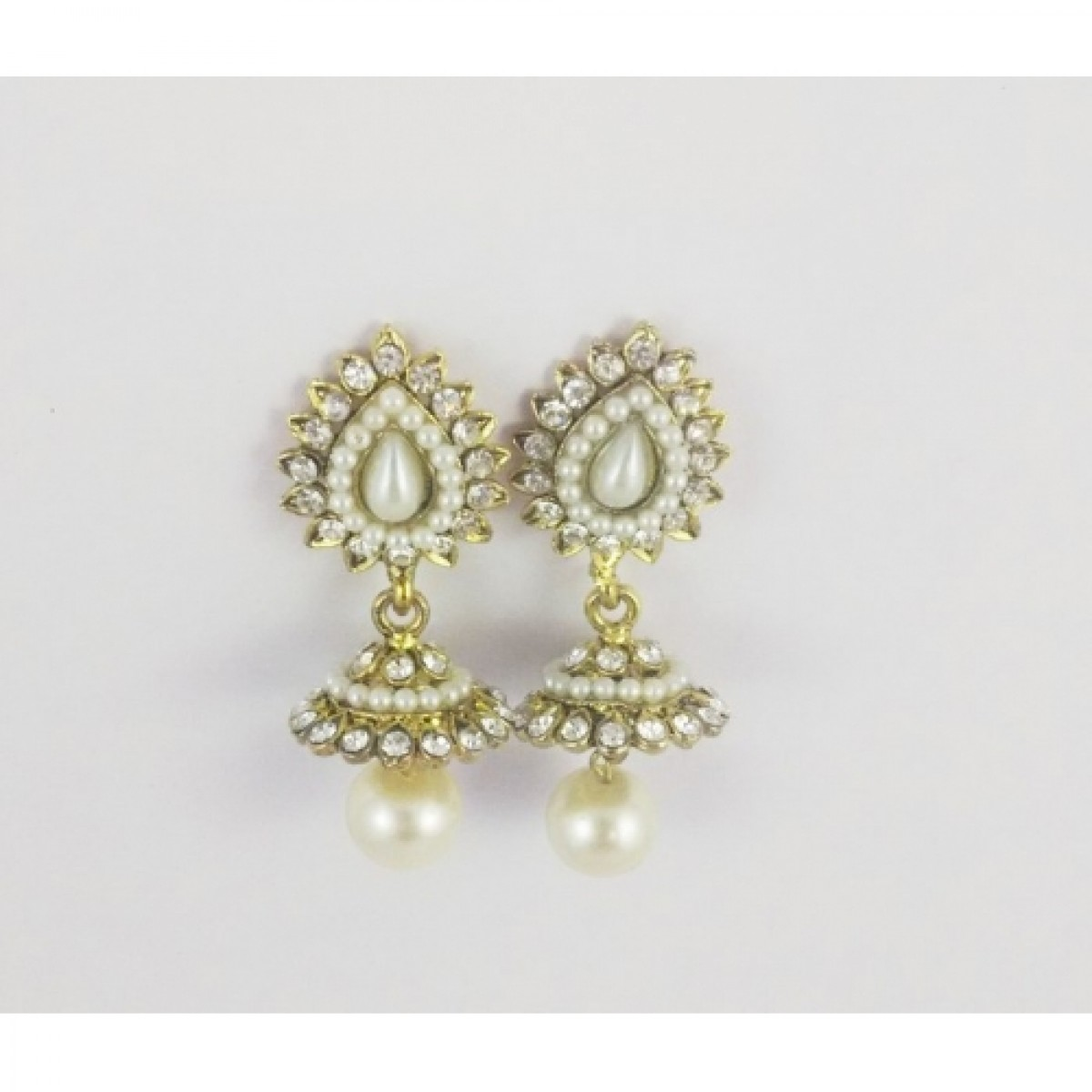 c66f136e2 ETHNIC PEARL JHUMKA EARRINGS WITH WHITE STONES